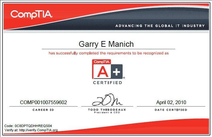 Garry Manich\'s Resume