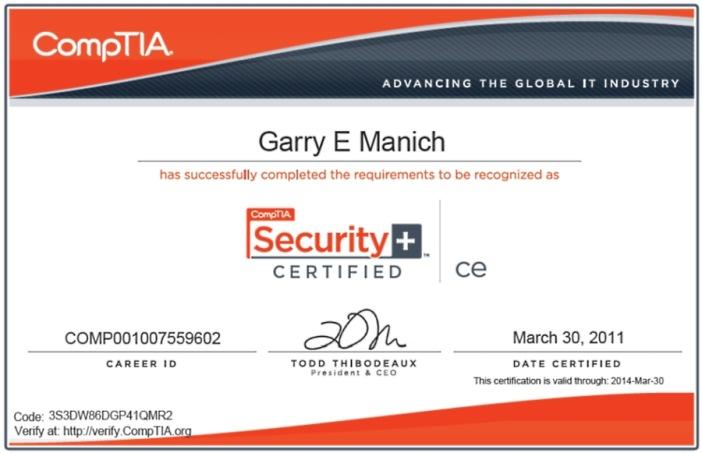 Garry Manich S Resume