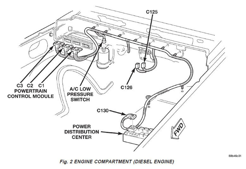 EngCompartFig2 dead short in fuse 9, powers up pcm and cummins controller Ford F-350 Wiring Diagram at suagrazia.org