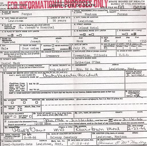 Joseph Conway Mack - Certificate of Death