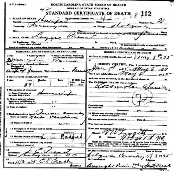 north carolina death certificates
