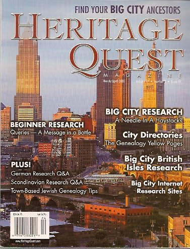 Heritage Quest Magazine #92 March/April 2001, Meitzler (Editor), Leland