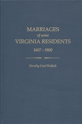 Image for Marriages of Some Virginia Residents 1607 - 1800