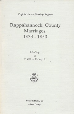 Image for Rappahannock County Marriages, 1833 - 1850