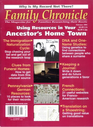 Family Chronicle: The Magazine for Families Researching their Roots, Vol. 8 No. 3/ January - February 2004, Moorshead (Editor), Halvor